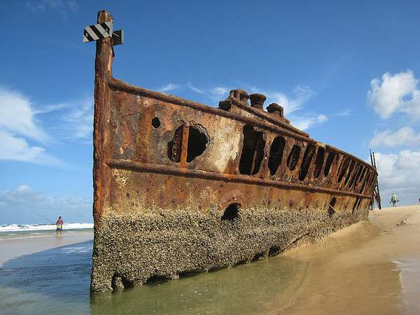 photo of shipwreck on Fraser Island, Australia.